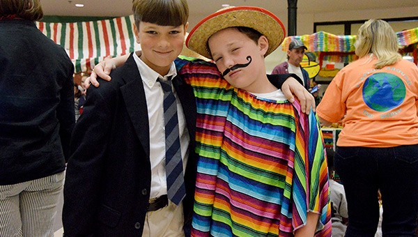 Hudson Kelley dressed as a student studying abroad and Gray Dalton donned a poncho and sombrero from Mexico.