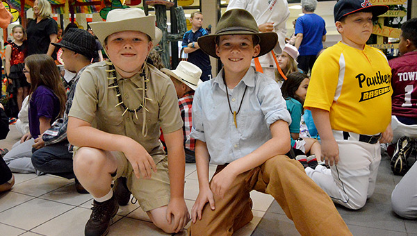 Jacob Sellers and Brice Jernigan dressed up as crocodile hunters from Australia.