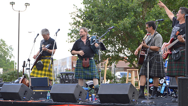 The Krooked Kilts performed at the fundraiser. The bagpipe player is Bubba's brother, Mike.