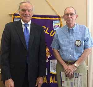 Seth Hammett was the guest speaker at the Andalusia Lions Club on Wednesday. He is shown with Lion Bill Patton, who invited him.